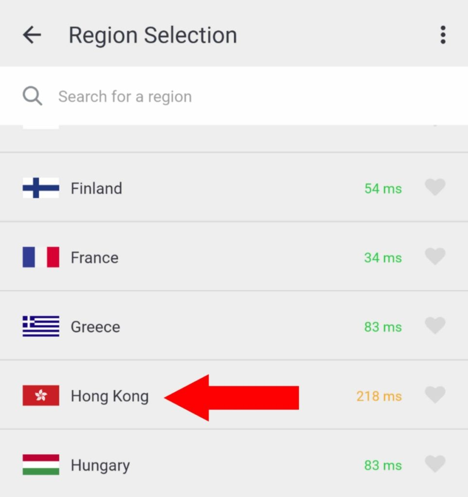 Popular VPN with Hong Kong Region option